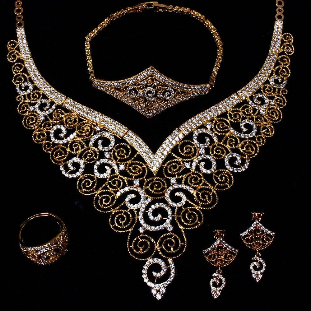 Flower Women wedding Jewelry Sets with Cubic Zircon 4pcs jewelry sets necklace bracelet earrings ring free