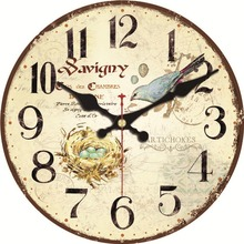 hot deal buy shabby chic nature scenery wall clocks flower magpie design fashion silent living study office room decorative art wall clocks