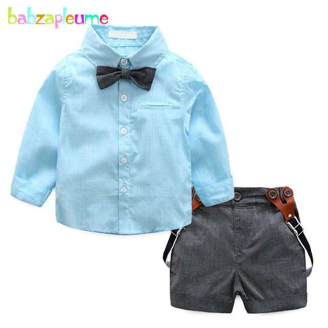 c334a0f22bd5 2PCS/0-2Years/Spring Summer Baby Boys Clothes Set 1st Birthday Outfits  Gentleman Fashion T-shirt+Shorts Newborn Clothing BC1080