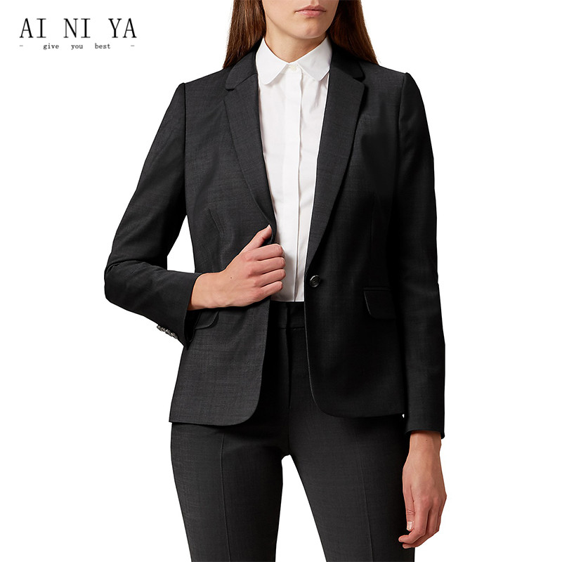 Jacket+Pants Autumn Winter Women Business Work Suits OL Ladies Office Uniform Solid Peak Lapel Slim Fit Female Trouser Suits New