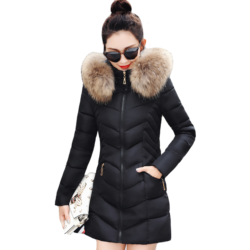 Winter Women Jacket With Fur Collar Hooded Slim Female Long   Parka   Cotton Padded Coat Chaqueta Mujer Invierno