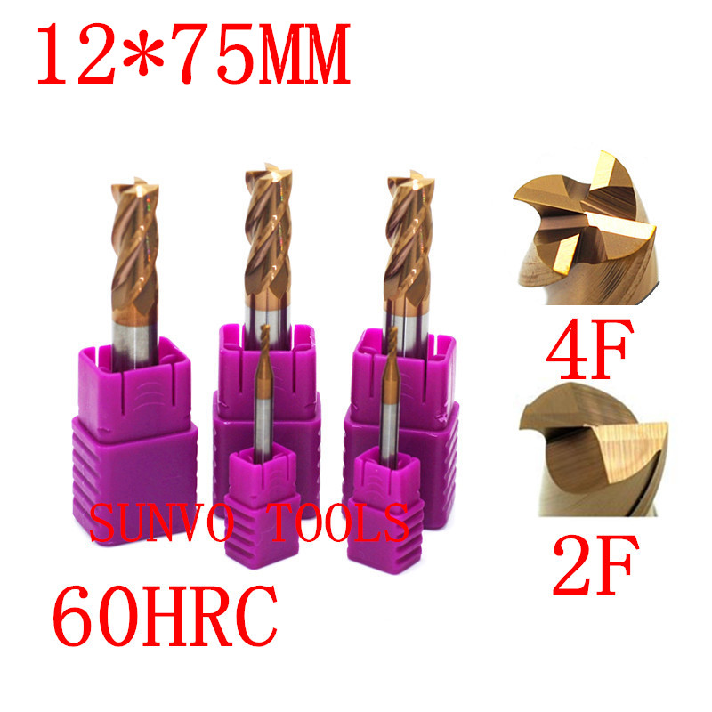 2Pcs 8mm Extra Longth 100mm Solid Carbide End Mill HRC 65 CNC Milling Cutter