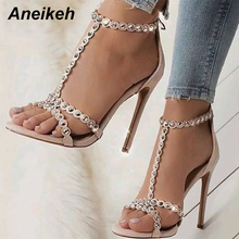 Aneikeh Fashion Sandals Shoes Woman Gladiator Pumps Open Toe Golden Rivets T-Strap Ladies Sexy High Heels Summer Party Shoes