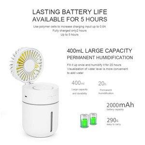 Image 3 - 2000 Mah Batterij Ventilator Met Luchtbevochtiger 400 Ml Usb Aroma Essentiële Olie Diffuser 7 Kleur Nachtlampje Ventilador Draagbare tafel Ventilator