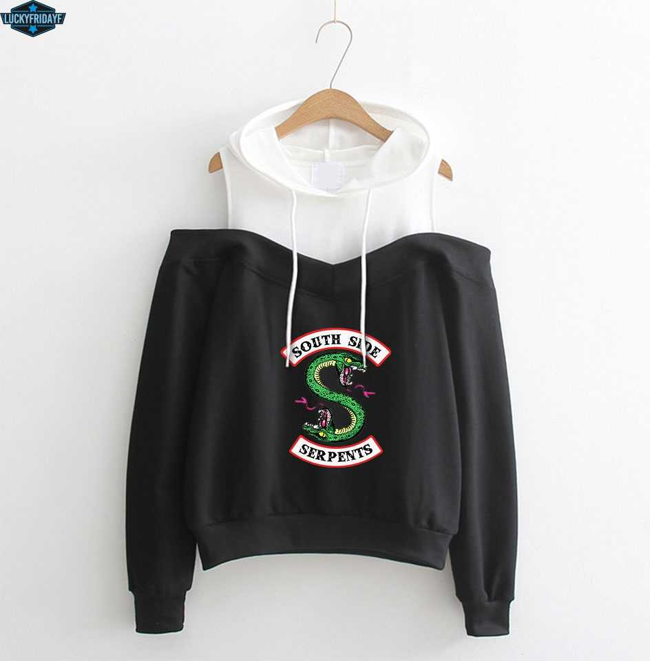 LUCKYFRIDAYF RIVERDALE Dew Shoulder Hoodie Sweatshirt 2019 south side serpents Hoodies Women southside riverdale clothes XS-2XL