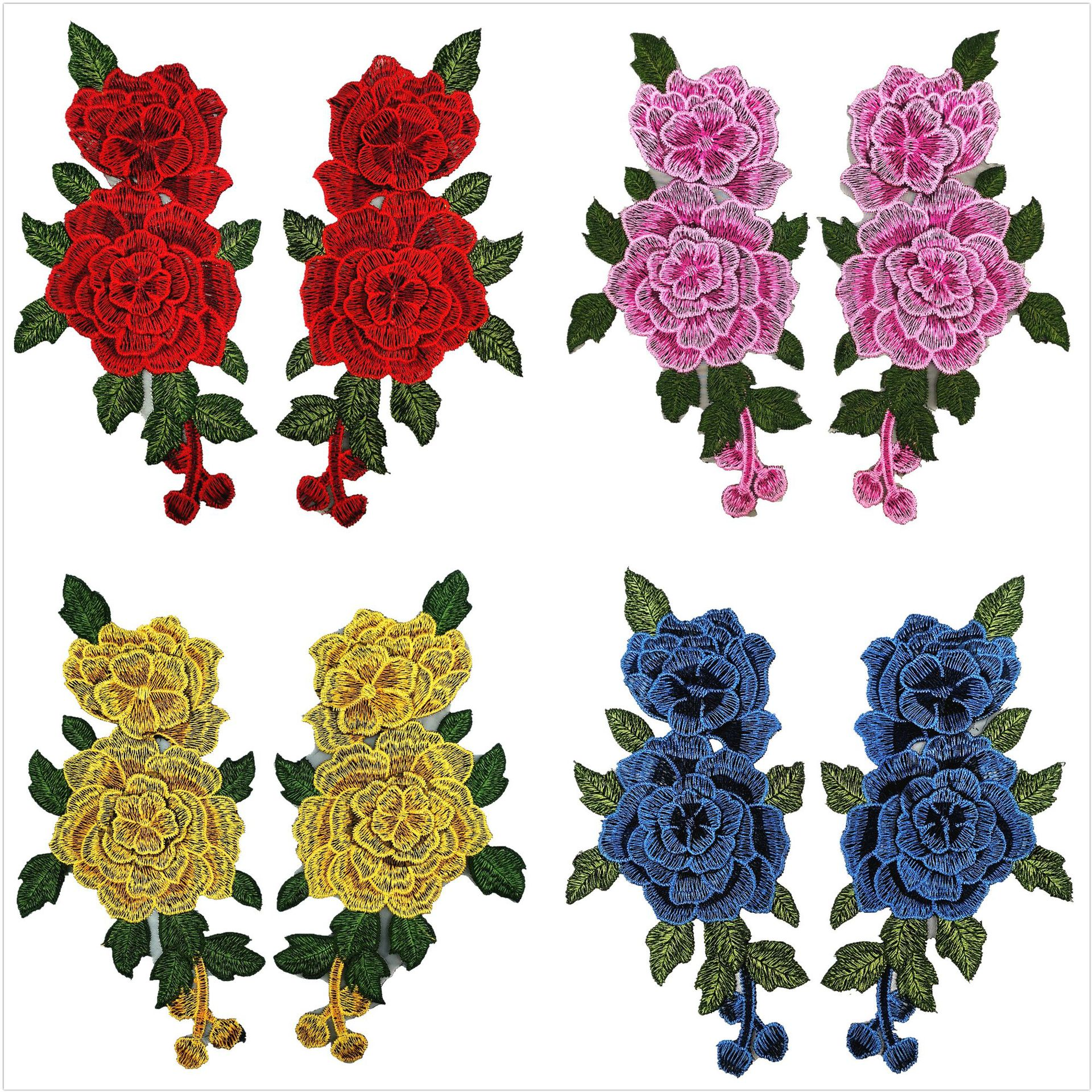DIY Patch Applique Water Soluble Embroidery  Costume Decoration Dimensional Colorful Decals Applique Accessories