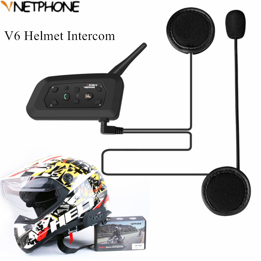 V6 Motorcycle Helmet Intercom 1200m Wireless Helmet Bluetooth Headsets for 6 riders Waterproof Intercomunicador Moto Interphone