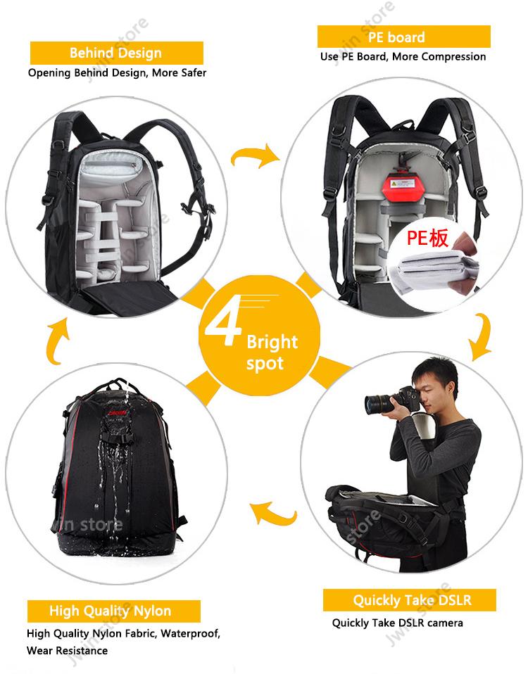 CADeN Professional Travel Waterproof Fashion Camera Backpack Photo tas Digital Camera Bag Case for Dslr Sony Canon Nikon K6K7 2