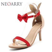 Neoarry 8cm Thin High Women Sandals 2018 Fashion Sexy Women Summer Shoes  Bow Tie Ankle Buckle Female Sandals Plus Size LT183 33d0afc07578