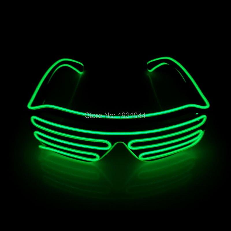 Звуковой активации драйвера с Освещение Цвет зеленый EL Провода светящиеся затвора Очки вечеринку DIY пользовательских Rave неоновый Очки