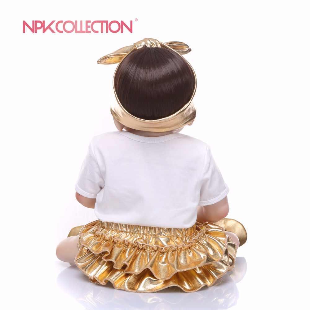 57 CM de corpo inteiro de silicone Novo design de ouro Corpo Cheio de Silicone Boneca Lifelike Renascer Boneca Feito À Mão Brinquedo Do Bebê venda quente presentes de natal