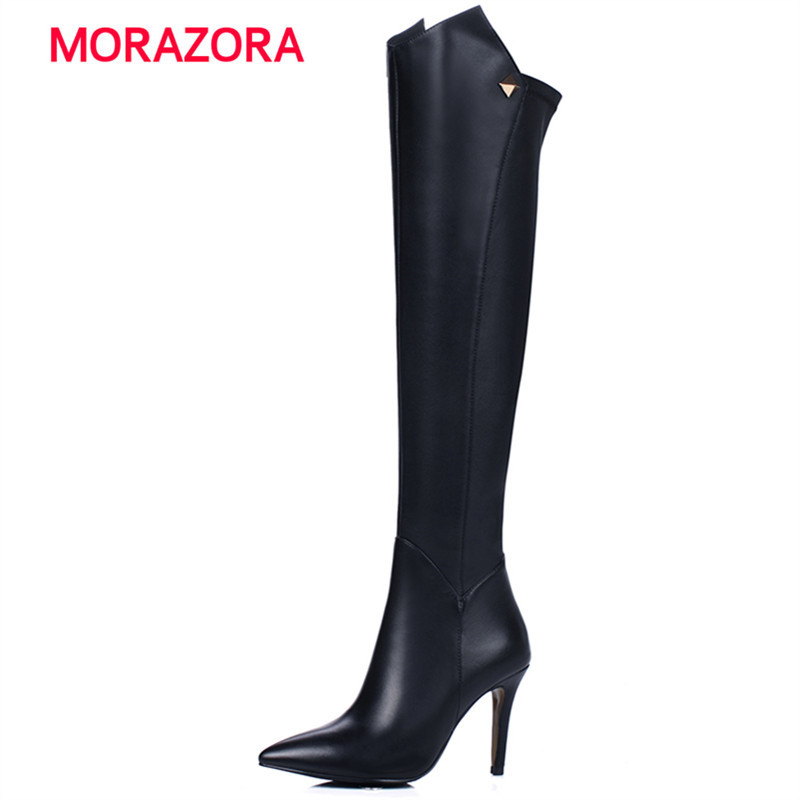 все цены на MORAZORA 2018 new stiletto heel genuine leather boots autumn winter over the knee boots sexy pointed toe super high heel boots