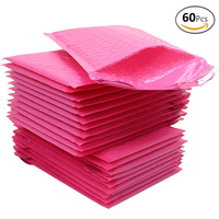 Coceca 60 Pcs 5 X 9 Pink Self Sealed Poly Bubble Mailers Padded Envelope Bags For