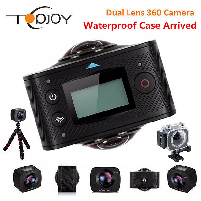 TOPJOY 360 Action Camera Dual Lens 3008*1504 All View Fish Eye 1920*960P@30fps Wifi 8MP VR Sport Cam 360 Action Video Camera