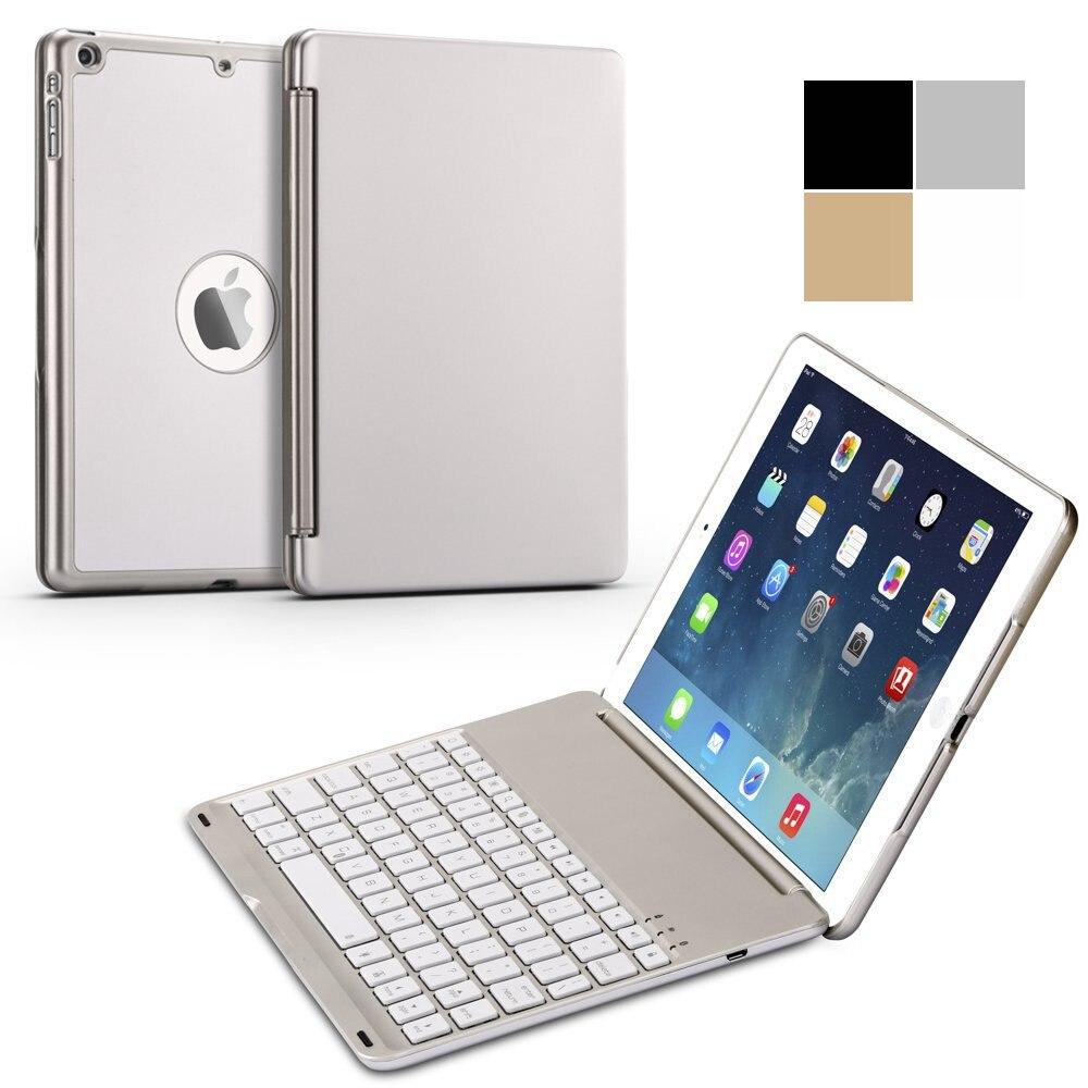For New iPad 9 7 2017 Ultra Thin Smart Aluminum Bluetooth Russian Spanish Hebrew Keyboard Case
