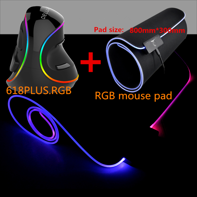 Delux M618 PLUS RGB Vertical Gaming Wired Mouse PC wit Laptop 6 Buttons 4000 DPI 7