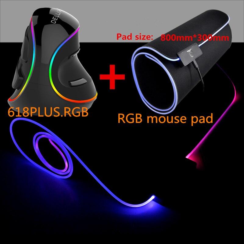 Delux M618 PLUS RGB souris de jeu verticale filaire PC avec ordinateur portable 6 boutons 4000 DPI 7 couleurs RGB tapis de souris de jeu Gamer tapis de souris