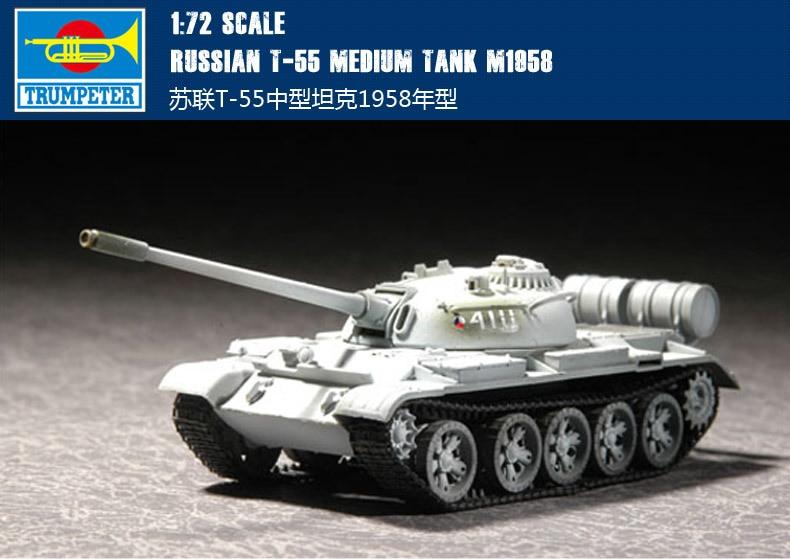 Trumpet Hand 07282 1:72 Soviet T-55 Medium Tank 1958 Assembly Model Building Kits Toy 1 72 soviet union armored train model toy assembly 82912