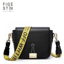 FIGESTIN 2018 Fashion Brand Shoulder Bag Split Leather Women Messenger Bag Small Crossbody Bag Clutch Bag for lady Off White