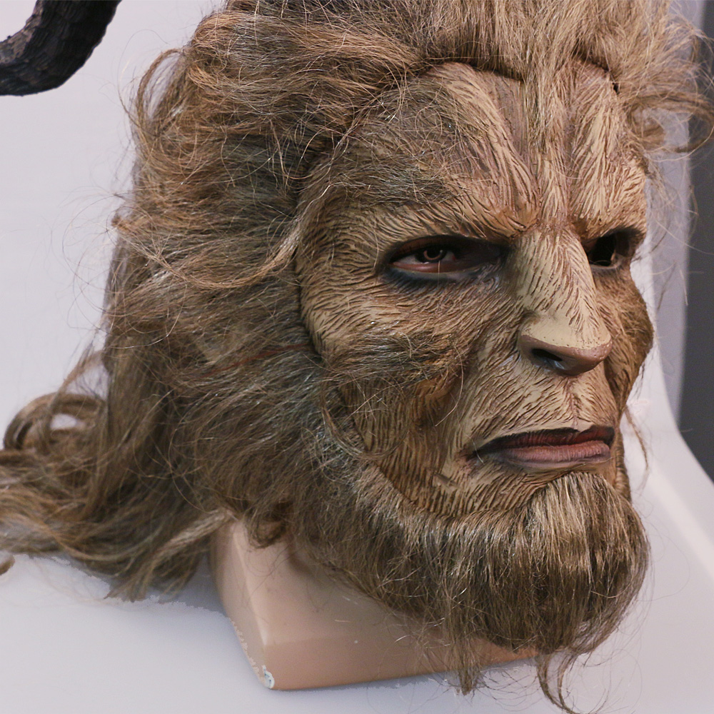 2017 Hot Movie Beauty and the Beast Adam Prince Mask Cosplay Horror Mask Latex Lion Helmet Halloween Party (4)