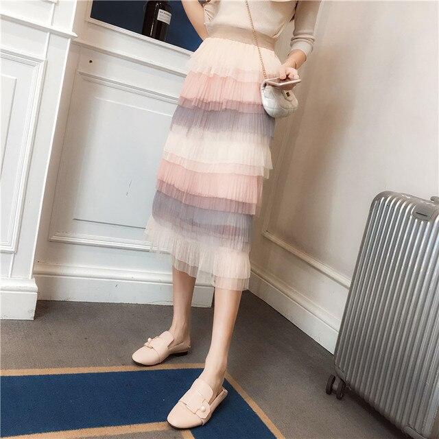 4f49dcb05e New Women Skirt Patchworklt Mesh Slim High Waist Small Clear Multilayer Long  Folding Cake Skirts Black Apricot Pink 5855