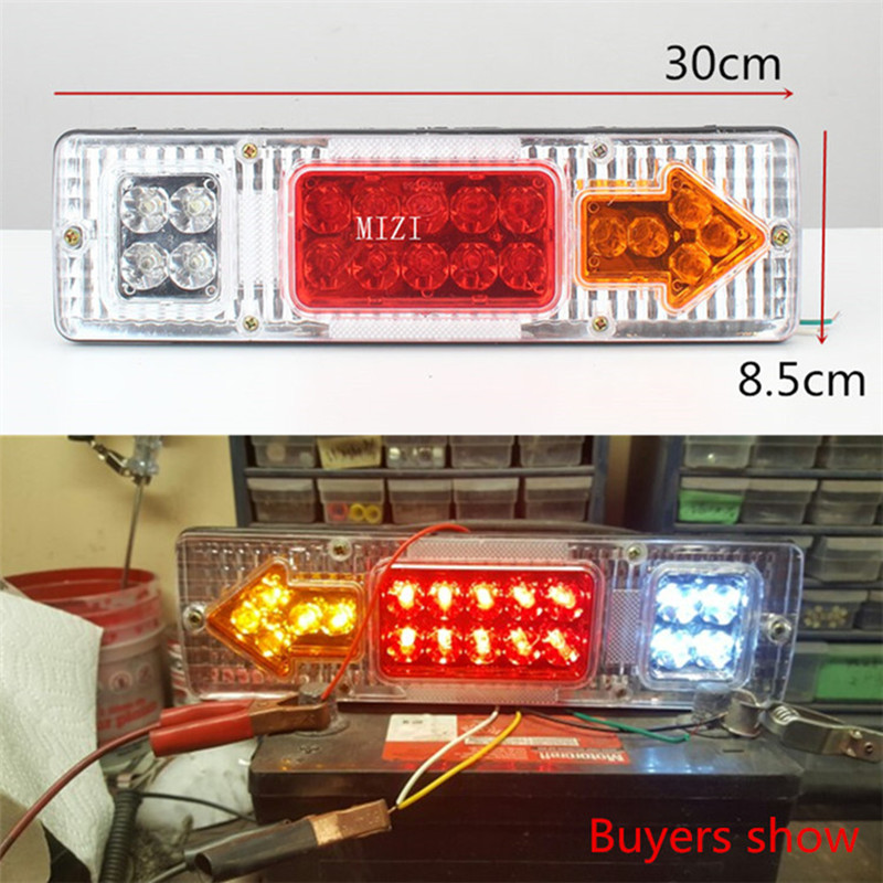 12v 24v1 pcs Caravan Led Trailer Tail Lights LED Rear Turn Signal Truck Trailer Lorry Stop Rear Tail Indicator Light Lamp eonstime 2pcs 12v 16 led red white truck trailer boat stop turn tail light reverse light lamp waterproof
