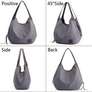 Image 2 - Sacs à main en toile Hobos pour femmes, sacoche de bonne qualité à épaule solide Vintage multi poches, fourre tout pour dames