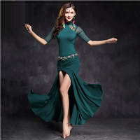 Women Performance Belly Dance Clothes Sexy Mesh Half Sleeves Ballroom Dance Dress Women Belly Dancing Dresses