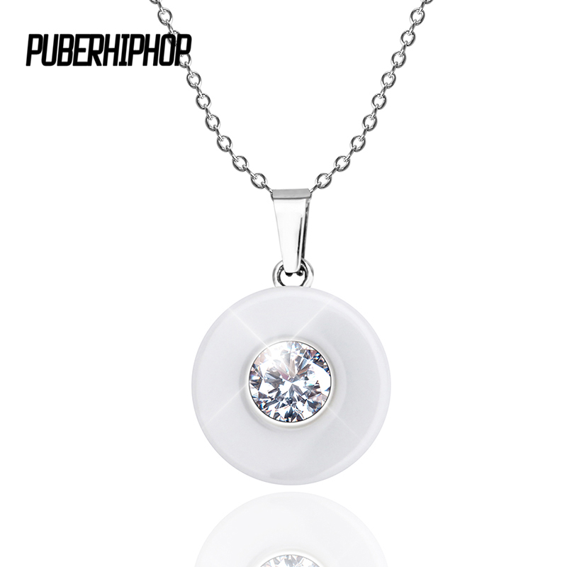Real Ceramic Cubic Zirconia Chain Necklaces & Pendants White Color Fashion Crystal Ceramic Necklace Wedding Jewelry For Women king double krn a5t 5 zirconia ceramic utility knife w sheath red white