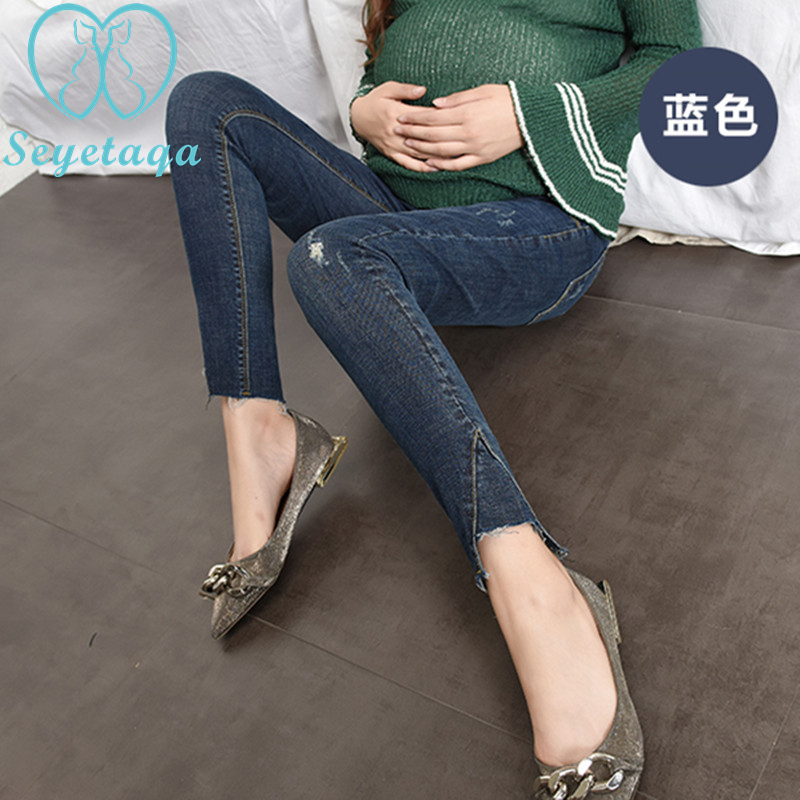 781# Stylish Design Stretch Denim Skinny Maternity Jeans Pencil Trousers Clothes for Pregnant Women Autumn Pregnancy Belly Pants цена