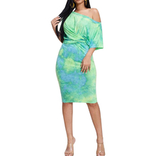 Sexy tie-dyed printed drop-shoulder sleeve short-sleeved dress summer new womens fashion casual