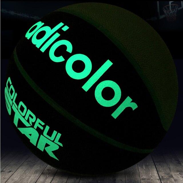 5# 6# 7# Luminous Street Rubber Basketball Ball Night Game Train PU Rubber Luminescence Night Light Children Women Men Outdoor