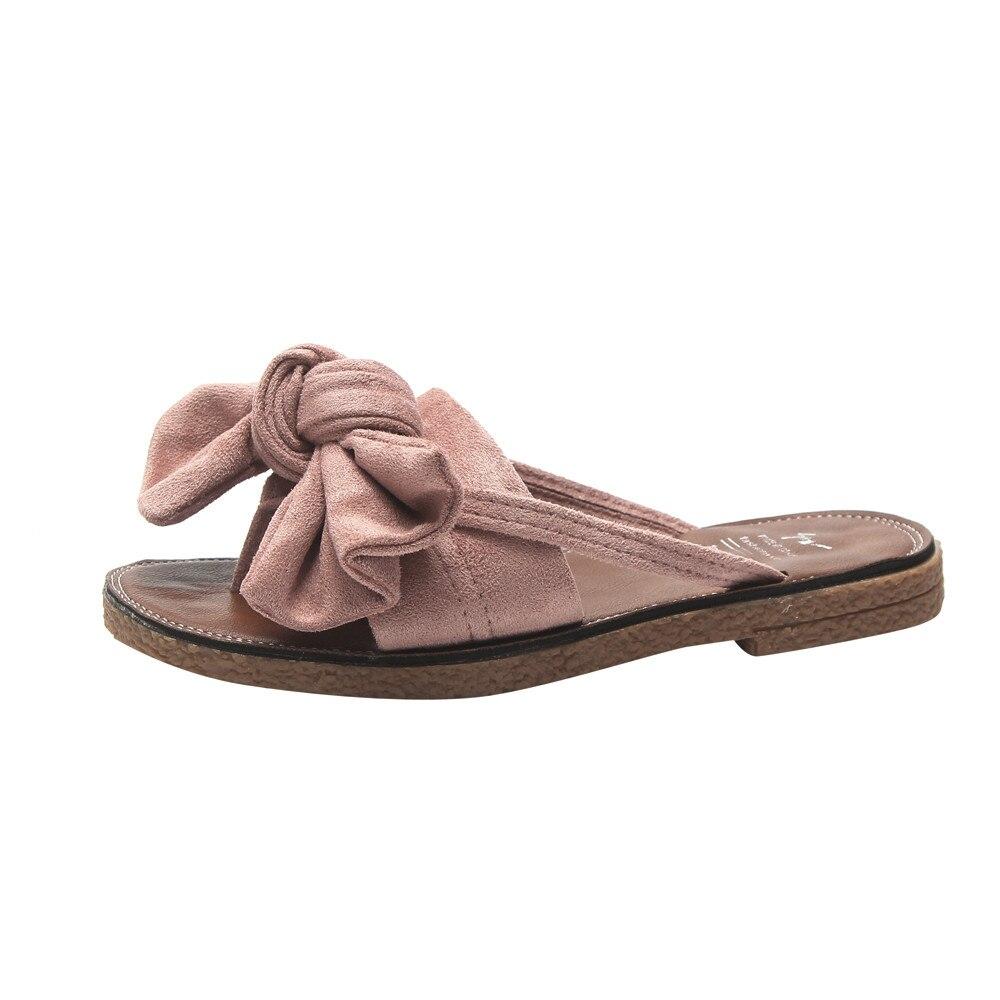 Искусственная кожа лук шлепанцы Женская пляжная обувь женские босоножки дамы лук тапочки вьетнамки на плоской подошве босиком Тапочки