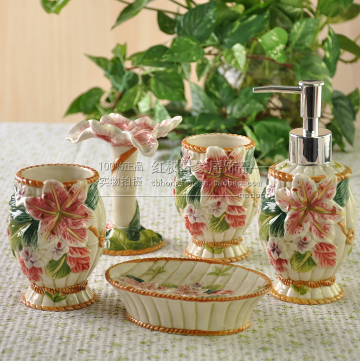 lily flowers ceramic toothbrush holder soap dish bathroom accessories set kit wedding home decor handicraft porcelain figurine