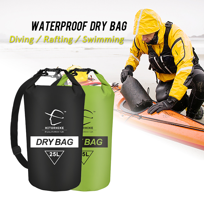 HITORHIKE 25L Waterproof Dry Bag Outdoor Swimming Camping Rafting Storage Bag with with Adjustable Straps 5 Colors