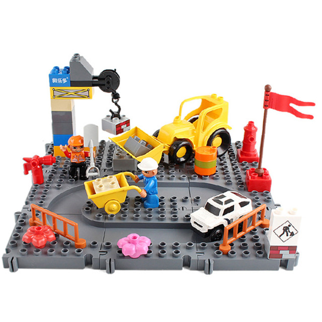 Large Particle Track Building Block Bricks Construction Toys for Children Compatible with Legoingly Duploe Track DIY Baby Gifts newest track train brick building block set educational diy construction toys for children enlighten bricks compatible with lego