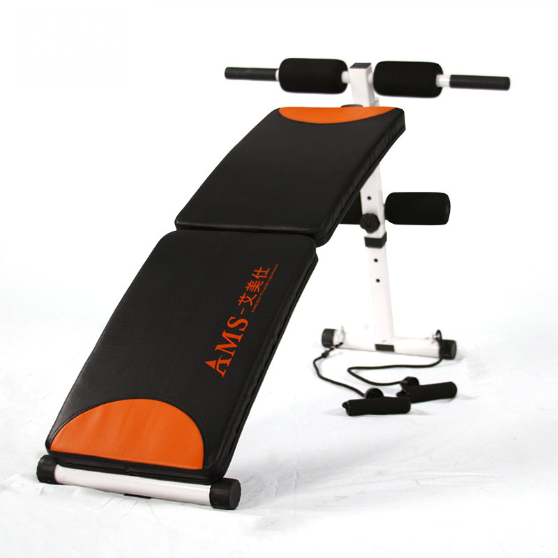 Ab Decline Sit Up Bench with Resistance Band, double fold abdominal boards, high carbon steel sit up bench with thicken cushion