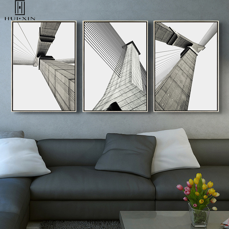 Classic White Black Modern Minimalism Modern Industrial Element Metropolis Skyscrapers HD Oil Canvas Printing Mural Wall Decor
