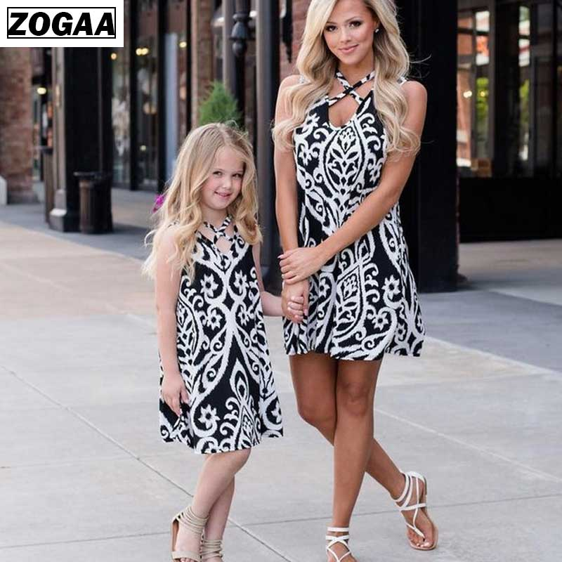 Household Matching Outfits Gown Summer time Matching Mom Daughter Clothes Garments Print Vogue Seashore Halter BodySuit Girls A64 Matching Household Outfits, Low cost Matching Household Outfits, Household Matching Outfits...