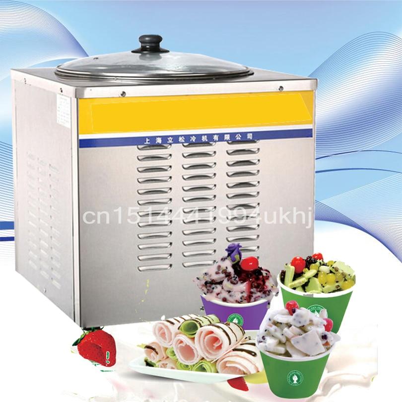 One Pan Single Pan Fried Ice Cream Machine Commercial Fruit Juice , Milk , Yogurt Fry Ice Pan Machine