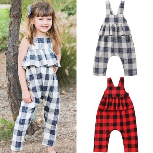2018 Sommer Neu Nette Hübsche Kleinkind Mädchen Kleidung 2-8y Sleeveless Rüschen Plaid Elastische Taille Backless Gürtel Body Overalls