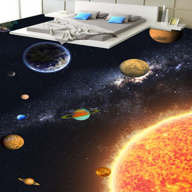 Free shipping lobby bedroom flooring custom thickened wallpaper chinese mural Planet Bathroom kitchen living room 3D Floor free shipping sea world dolphin 3d floor thickened wear non slip bedroom living room kitchen flooring wallpaper mural