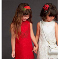 New designer spring girls wedding dress Red European sytle princess costume brand robe fille enfant sleeveless girl vest dresses