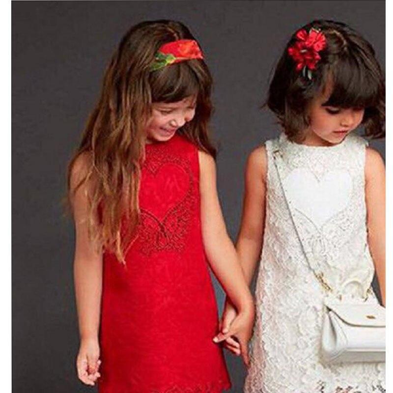 Nouveau designer printemps filles robe de mariée rouge style européen princesse costume marque robe fille enfant sans manches fille gilet robes