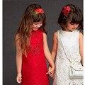 Nuevo diseñador de primavera niñas vestido de novia Rojo de sytle Europea princesa traje marca bata enfant fille chica sin mangas del chaleco dresses