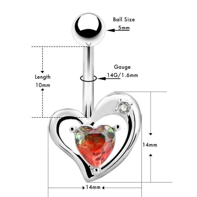 Тело панк 14g Нержавеющая сталь пупка Кольца Сердце для пирсинг