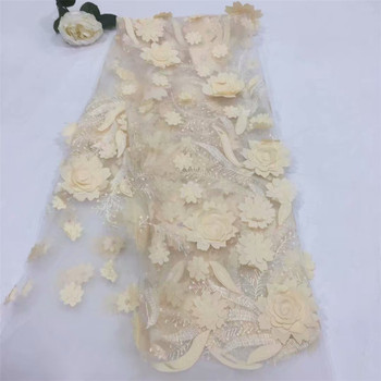 2018 Nigerian Latest Lace Fabric High Quality African 3D Applique Mesh Lace Fabric French Tulle Net Lace Fabric For Dress A321-2