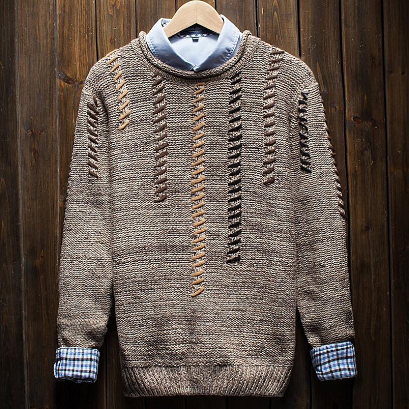 2018 autumn and winter men's fashion trend knitted pullover sweater male round neck cross pattern slim long sleeve sweater