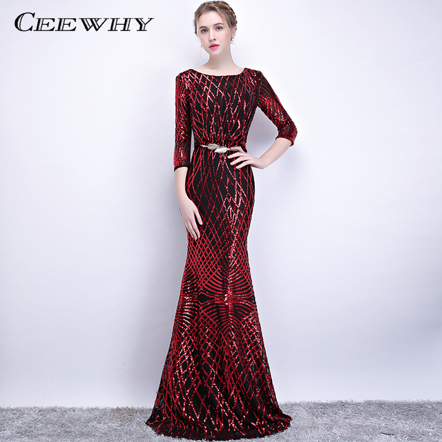 4943c9dd91d94 US $89.0 |CEEWHY Three Quarter Sleeve Backless Prom Dresses Long Sequined  Evening Dress Elegant Mermaid Evening Party Dress Abendkleid-in Evening ...