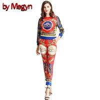 По megyn женщин Штаны комплекты 2018 весенние повседневные комплект из двух предметов; топ с принтом комплект со штанами 2 шт. наряды для женщин